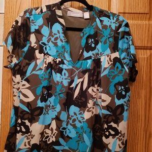 Liz Claiborne multicolored v neck short sleeve